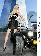 blond beautiful black sport car city buildings young sexy girl