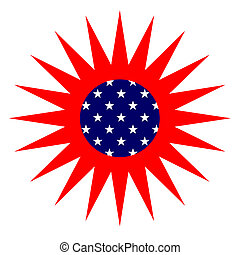 American Sun - American flag styled Sun isolated over white...
