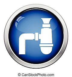 Bathroom siphon icon. Glossy button design. Vector...