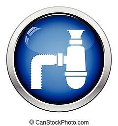 Bathroom siphon icon. Glossy button design. Vector...