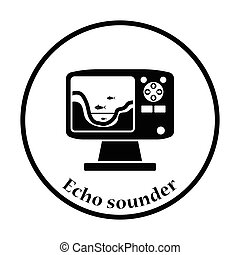 Icon of echo sounder Thin circle design Vector illustration...