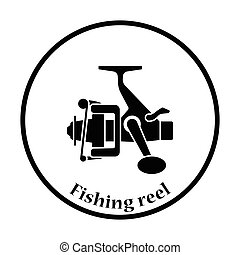 Icon of Fishing reel Thin circle design Vector illustration...
