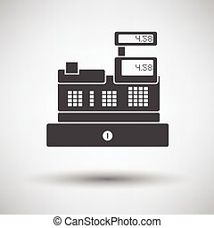 Cashier icon on gray background, round shadow Vector...