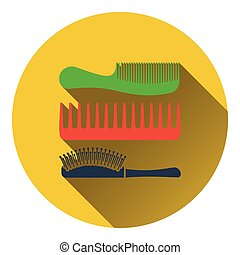Hairbrush icon. Flat color design. Vector illustration.