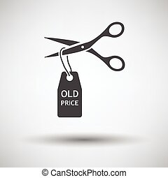 Scissors cut old price tag icon on gray background, round...
