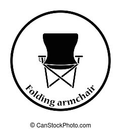 Icon of Fishing folding chair. Thin circle design. Vector...