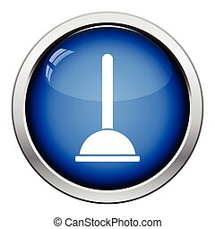 Plunger icon. Glossy button design. Vector illustration.