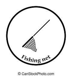 Icon of Fishing net . Thin circle design. Vector...