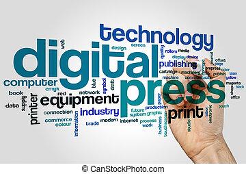 Digital press word cloud concept