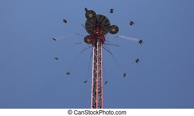 Thrill Rides At Amusement Park