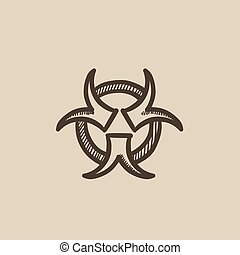 Bio hazard sign sketch icon. - Bio hazard sign vector sketch...