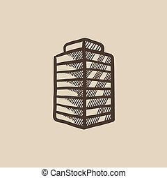 Office building sketch icon. - Office building vector sketch...