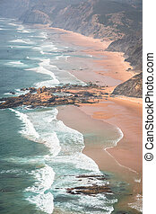 Sandy Castelejo beach, famous place for surfing, Algarve...