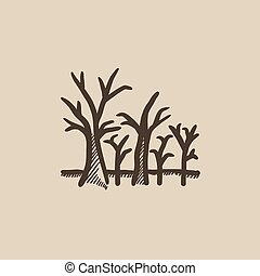 Tree with bare branches sketch icon - Tree with bare...