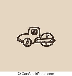 Road roller sketch icon. - Road roller vector sketch icon...