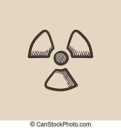 Ionizing radiation sign sketch icon - Ionizing radiation...