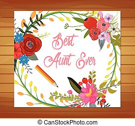 Best Aunt Ever - Floral Watercolor Mothers Day