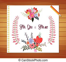 Print - Romantic and love cards, notes with Spring...