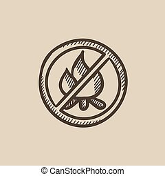 No fire sign sketch icon. - No fire sign vector sketch icon...