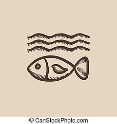 Fish under water sketch icon - Fish under water vector...
