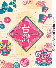 retro Taiwan culture poster with famous events and symbol -...