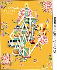 Taiwan travel concept design with attractions and hakka...