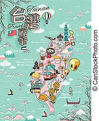 Taiwan travel map design with attractions and gourmets -...