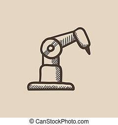 Industrial mechanical robot arm sketch icon. - Industrial...