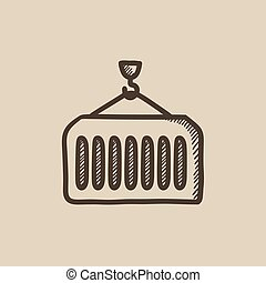Cargo container sketch icon - Cargo container vector sketch...