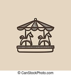 Merry-go-round sketch icon. - Merry-go-round vector sketch...