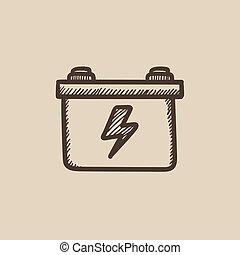 Car battery sketch icon - Car battery vector sketch icon...