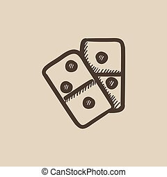 Domino sketch icon. - Domino vector sketch icon isolated on...
