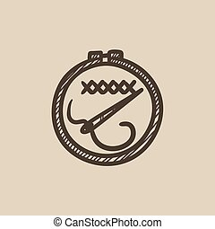 Embroidery sketch icon - Embroidery vector sketch icon...