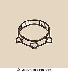 Tambourine sketch icon. - Tambourine vector sketch icon...