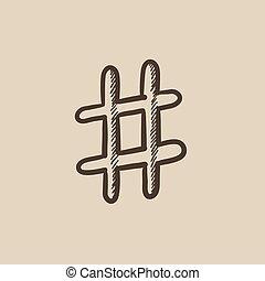 Hashtag symbol sketch icon - Hashtag symbol vector sketch...