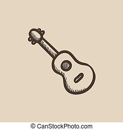 Guitar sketch icon. - Guitar vector sketch icon isolated on...