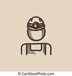 Coal miner sketch icon. - Coal miner vector sketch icon...