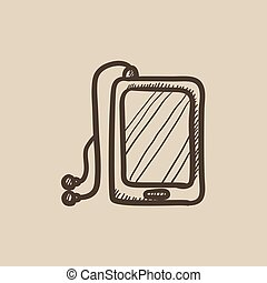 Tablet with headphones sketch icon - Tablet with headphones...