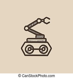 Industrial mechanical robot arm sketch icon - Industrial...