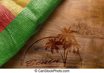 Flag and imprint on wood Made in Benin