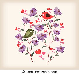 Illustration of Birds and Flowers