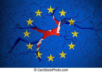 brexit blue european union EU flag on broken crack wall with...