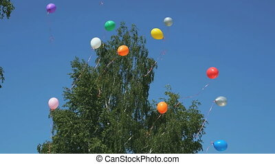 Colored balloons flying upwards in a blue sky. Sky clear