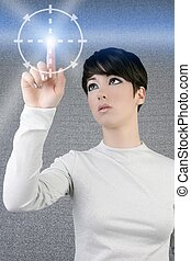 digital finger scan woman touch pad light futuristic...