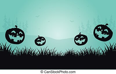 Silhouette of pumpkins and foggy Halloween vector...