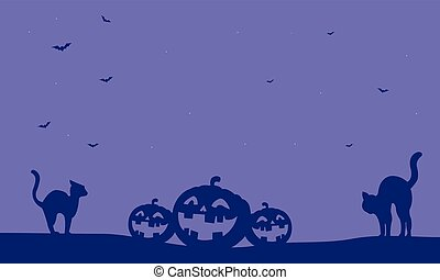 Halloween pumpkin and cat vector