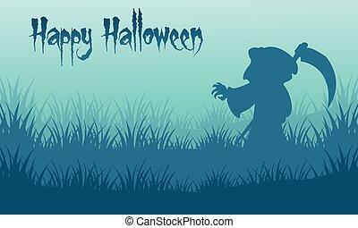Happy Halloween warlock backgrounds silhouette vector...