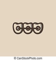 Orthodontic braces sketch icon. - Orthodontic braces vector...