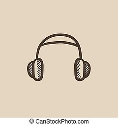 Headphone sketch icon - Headphone vector sketch icon...