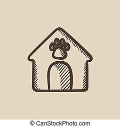 Doghouse sketch icon. - Doghouse vector sketch icon isolated...